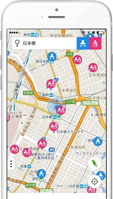 アプリ起動後すぐに、オムツ台・授乳室のマップが表示されます。現在地検索も、エリア検索もできるので、とっても便利。登録施設数も多く、お出かけの強い味方です。